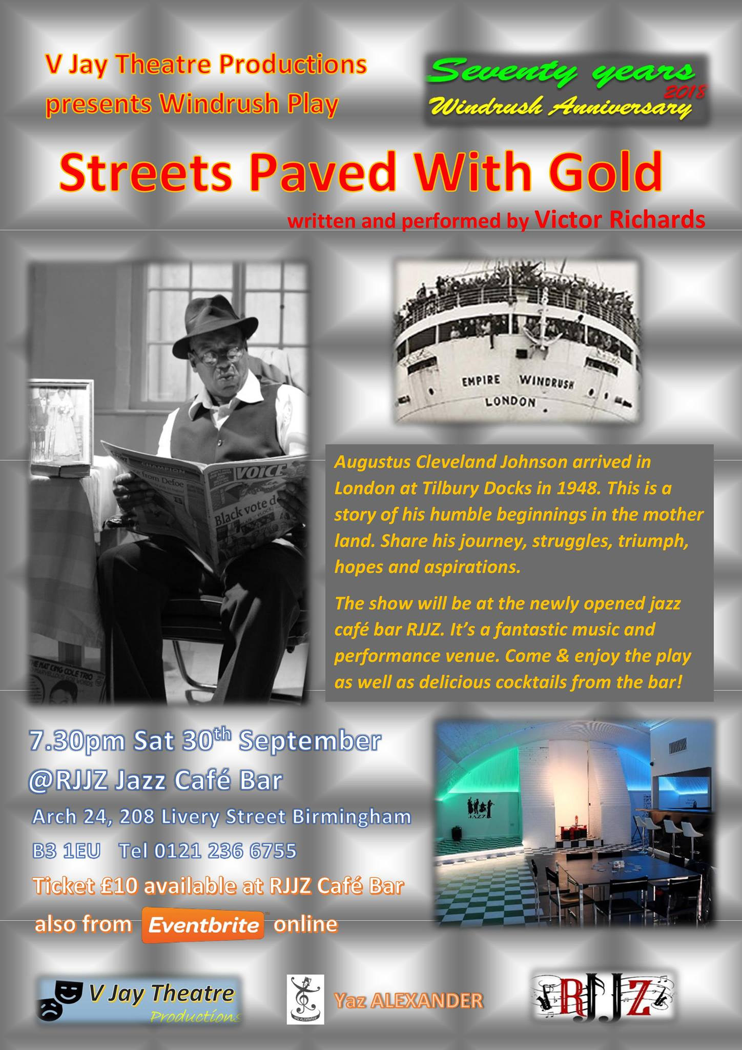 Windrush play STREETS PAVED WITH GOLD by Victor Richards at RJJZ jazz cafe bar in Birmingham | Blacknet UK