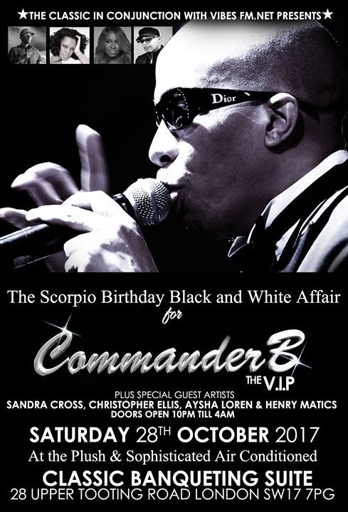Commander B Scorpio Birthday Black And White Affair | Blacknet UK