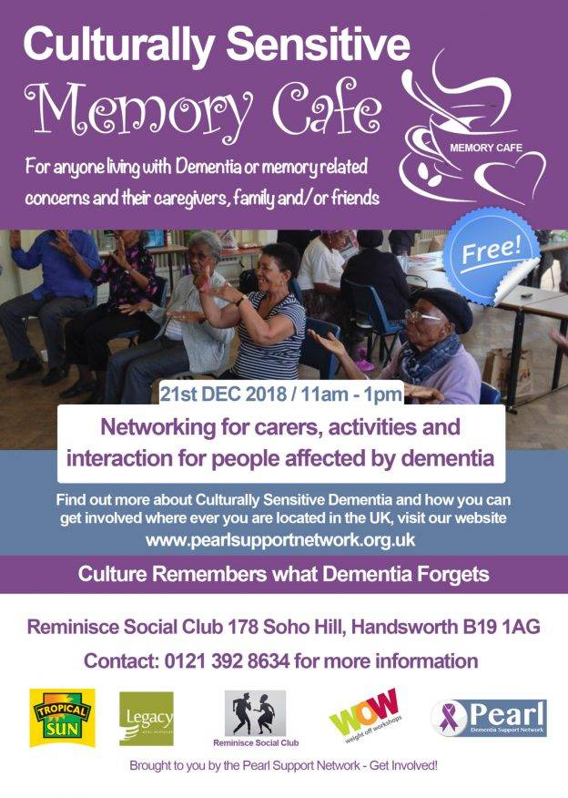 Culturally Sensitive Memory Cafe - Birmingham - Pearl Support Network